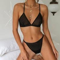 Deep V Sexy Wear Transparent Lingerie Set - Black