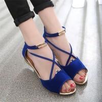 Breathable Elegant Color Zipper Casual Wear Women Sandal - Blue