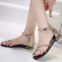 Zipper Closure Crystal Decorative Party Wear Flat Sandals - Golden