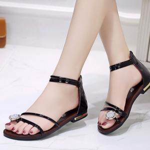 Zipper Closure Crystal Decorative Party Wear Flat Sandals - Black