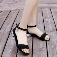 Solid Color Closure Buckle Strap Flat Bottom Women Sandal - Black