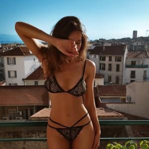 Deep V Lace Temptation Bikini Perspective Sexy Lingerie Set - Black