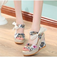 Floral Printed Strap Knotted Closure Thick Bottom Sandals