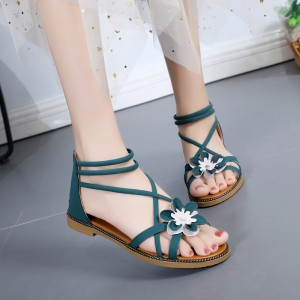 Flower Patched Flat Sole Casual Wear Sandals - Green