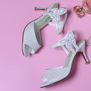 Spike Heels Butterfly Hollow Buckle Closure Glittery Sandals - White