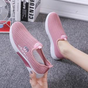 Mesh Pattern Light Wear Women Sports Wear Casual Sneakers - Pink