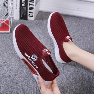 Mesh Pattern Light Wear Women Sports Wear Casual Sneakers - Burgundy