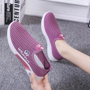 Mesh Pattern Light Wear Women Sports Wear Casual Sneakers - Purple