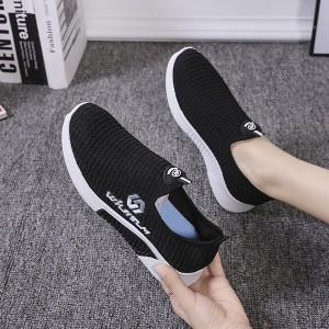 Mesh Pattern Light Wear Women Sports Wear Casual Sneakers - Black