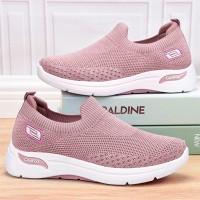 Mesh Pattern Sports Wear Slip Over Sneakers - Pink
