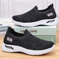 Mesh Pattern Sports Wear Slip Over Sneakers - Gray