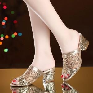 Glittery Party Wear Shiny Sandals - Golden