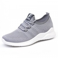 Mesh Lace Closure Slip Over Fashion Sneakers - Gray