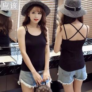Women Casual Wear Cross Back Cotton Fabric Top T Shirt -Black