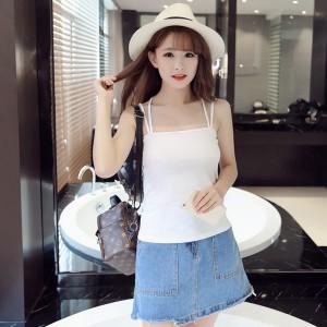 Women Casual Wear Cross Back Cotton Fabric Top T Shirt -White