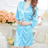 Summer Sexy Ice Silk Robes Women Lace V neck Half Sleeve Lingerie Set - Sky Blue