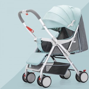 Canvas High Quality Sun Protective Hooded Baby Stroller - Blue