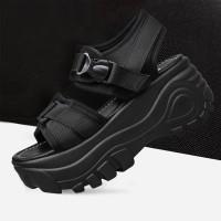 Thick Foam Sole Velcro Closure Sports Wear Sandals - Black