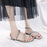 Glitter Decorative Cross Strap Flat Party Wear Sandals - Silver