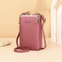 Zipper Closure Synthetic Leather Smart Mini Vertical Shoulder Bags - Rose Pink