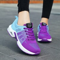 Lace Closure Rubber Sole Sports Wear Sneakers - Purple
