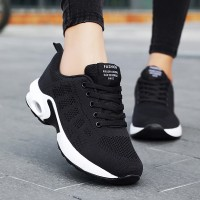 Lace Closure Rubber Sole Sports Wear Sneakers - Black
