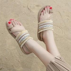 Tassel Bohemian Flat Wear Women Fashion Sandals - Khaki