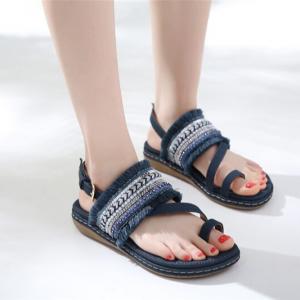Tassel Bohemian Flat Wear Women Fashion Sandals - Black