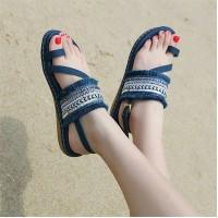 Tassel Bohemian Flat Wear Women Fashion Sandals - Blue