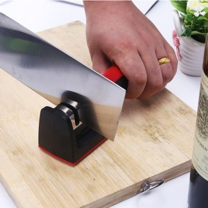 Double Groove Head Handle Fast Kitchen Knife Sharpener - Red