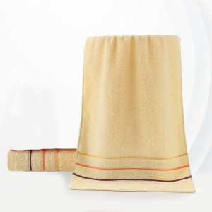 Colorful Soft Cotton Strip Pattern Mini Size Face Towel - Yellow