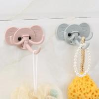 2 Pcs Elephant Design Strong Adhesive Traceless Hooks - Blue Pink