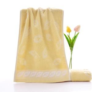 Leaf Pattern soft Cotton Mini Size Hand Face Towel One Piece - Cream Orange