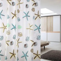 Thicken Printed Bathroom Shower And Toilet Curtain - White Blue