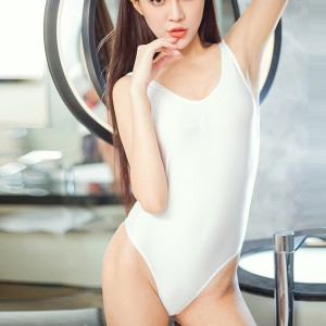 Women Transparent Soft Fabric Open Back Sexy Swimsuit - White