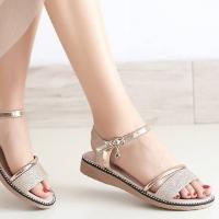 Buckle Closure Flat Crystal Decorative Sandals - Golden