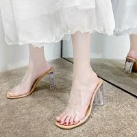 Square Heel Elegant Party Wear Midi Heels - Transparent