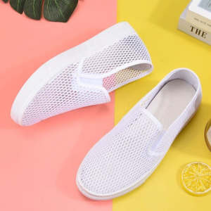 Mesh Hollow Breathable Flat Sole Shoes - White