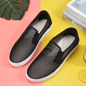 Mesh Hollow Breathable Flat Sole Shoes - Black