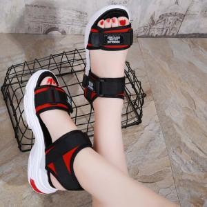 Velcro Closure Thick Bottom Women Fashion Slippers - Black