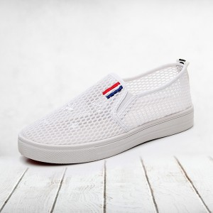 Patched Stars Mesh Hollow Breathable Flat Sole Shoes - White
