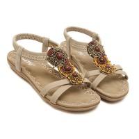 Bohemian Elastic Slip Over Flat Sole Sandals - Khaki