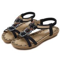 Bohemian Elastic Slip Over Flat Sole Sandals - Black