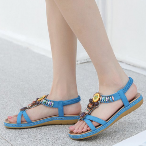 Bohemian Elastic Slip Over Casual Sandals - Blue