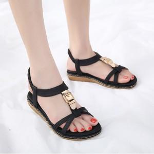 Slip Over Flat Wear Buckle Style Sandals - Black