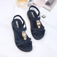 Slip Over Flat Wear Buckle Style Sandals - Dark Blue