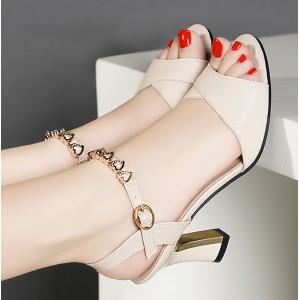 Hearts Decorative Buckle Closure Sandals - White