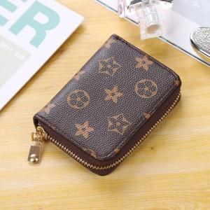 Zipper Closure Printed Designers Handheld Wallet - Brown