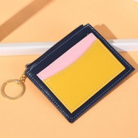 Contrast Zip Closure Radiant Square Shaped Card Money Wallet - Yellow