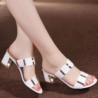 Slip Over Square Heel Thick Sole Party Wear Heels - White